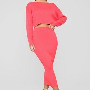 NWT fashion nova another night with you skirt set
